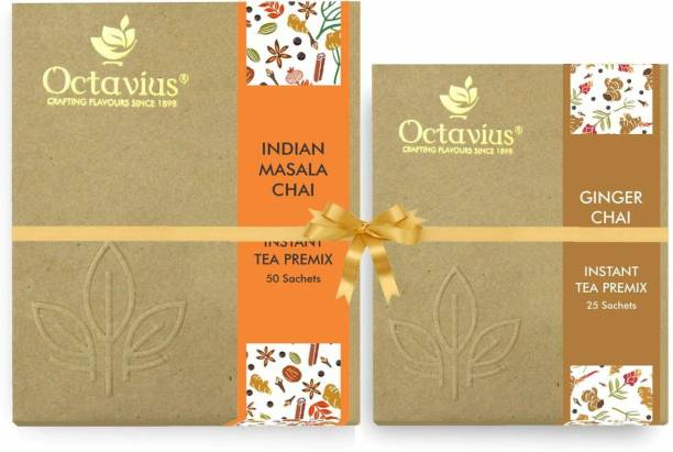 Octavius Indian Masala Ready Tea Perfect For Work, Travel, Home | Economy Pack - 50 Sachets ( WITH FREE GINGER CHAI 25 SACHETS) Combo