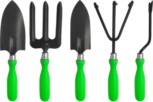 TRUPHE 5 Pcs Tool Set - Weeder, Small Trowel, Big Trowel, Cultivator, Fork (Green) Garden Tool Kit