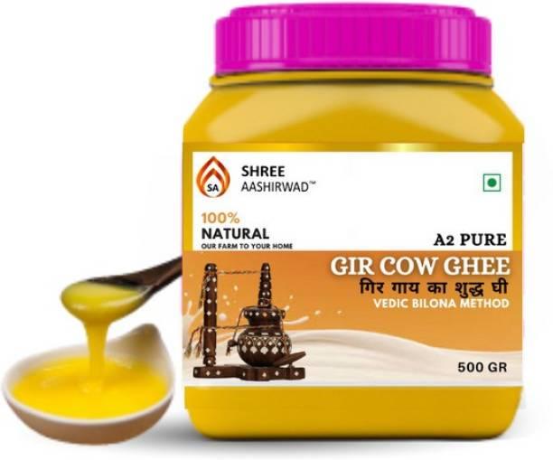 SHREE AASHIRWAD Premium A2 Gir Cow Pure Ghee | 100% Desi Gir Cow | Vedic Bilona Method | 1kg Jar | Grassfed, Cultured, Premium & Traditional Ghee | Immunity Booster Ghee 1 kg Mason Jar
