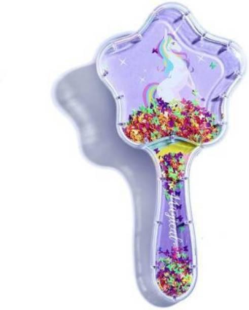 Priceless Deals Unicorn Star Shaped Glittery Soft Bristled Hair Brush for Kids/ Girls