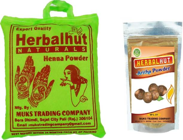 HERBALHUT NATURALS 100% pure Henna powder and Reetha powder (100g + 400g )