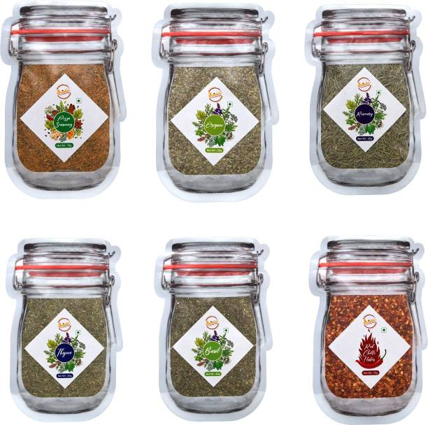 Droolix Pizza Seasoning (75 g), Premium Oregano (30 g), Moroccan Rosemary Herbs (50 g), Moroccan Thyme Herbs (50 g), Dried Basil Leaves (30 g) & Red Chilli Flakes (75 g) 6-in-1 Combo Pack