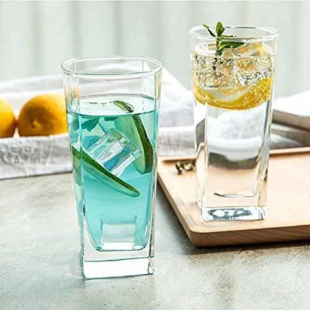 "Masox Store (Pack of 6) ""Square shape regular juice or beer glass 300ml (Set of 6) Glass Set"