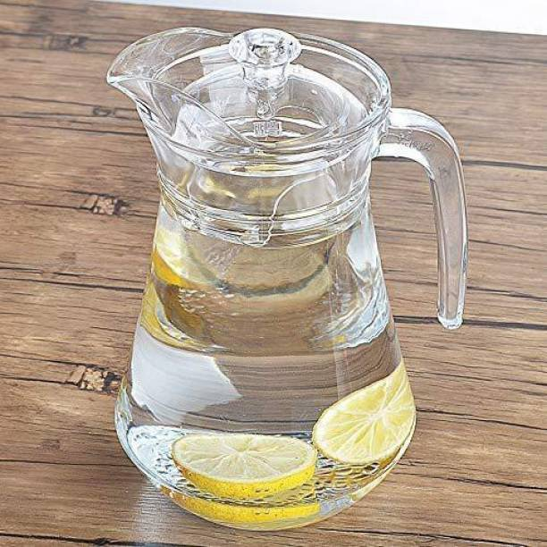 Coozico 1.3 L Water 1.3 L Water Aquatic Glass jug Pitcher with Lid 1.3 LTR (1) Jug (Glass)/ Water Jug Glass Water Pitcher with plastic Lid, Beverage Jug for Juice Lemon Water Iced Tea, Water Carafe with Handle Jug (Glass) Jug