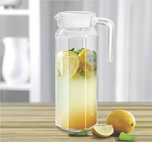 AntiqueBuyer 1.1 L Water 1.1 L Water 1100 ML Water Juice Jug Pot, Borosilicate Glass, Stainless Steel Air Tight Cap, Transparent, Set of 1 Pcs Jug (Glass) Jug