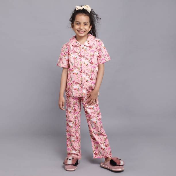 Ninos Dreams Kids Nightwear Girls Printed Cotton Blend