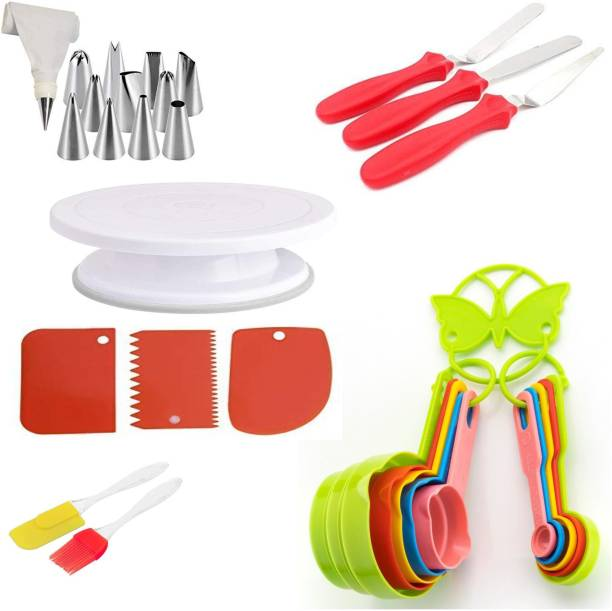 BG cake decorating 3 Cake Decorating Kits Cake Turntable, 12 Numbered Cake Decorating Tips, 3 Icing Spatula, 3 Icing Smoother, 1 Silicone Piping Bag, 1 Coupler, 1 Set Brush Spatula, 10 pc Measuring Cup & Spoons Kitchen Tool Set