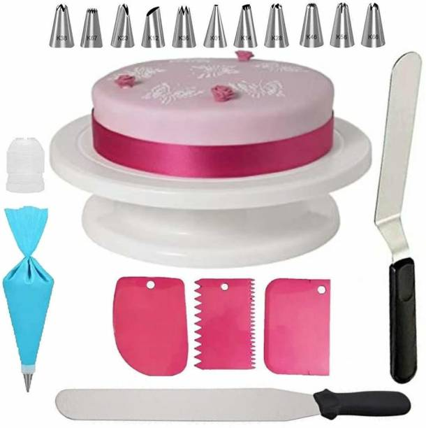 SHREE SADGURU CREATION CAKE DECORATING TOOLS Cake Combo of Cake Making Turn Table 7 inch Stainless Steel Spatula, 12 Piece of Cake Decoration nozzles with Icing Bag and 3 Pieces of Dough Scrapper Multicolor Kitchen Tool Set