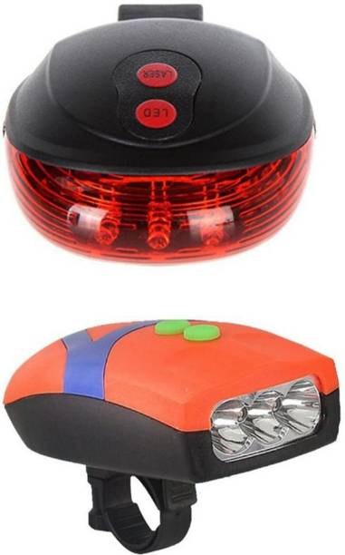 FASTPED Bicycle 3 LED 3 Mode Front Light & Horn & 2 Laser Beams Tail LED Front Rear Light Combo