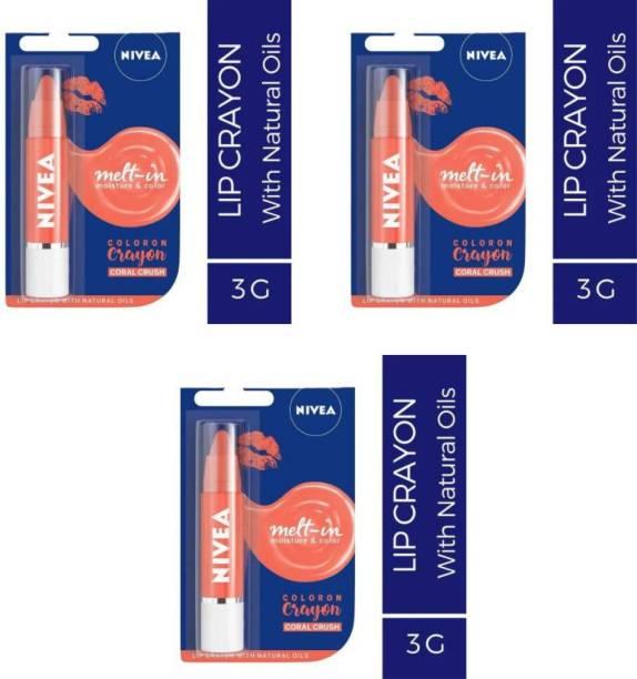 NIVEA Shine Lip Balm charol crayon (Pack of: 3 12..6 g) coral crush