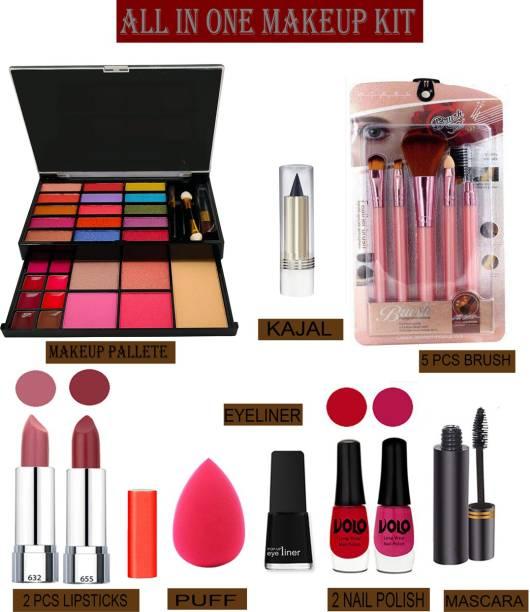 Volo 14 In 1 Makaeup Kit With Lipstick, Nail Polish, Mascara, Eyeliner, Makeup Brush, Kajal And Puff Women Gift Set Makeup Kit 26F21A24