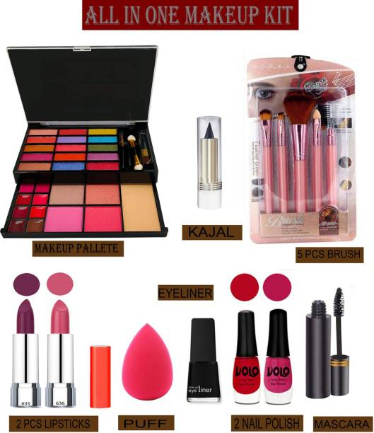 Volo 14 In 1 Makaeup Kit With Lipstick, Nail Polish, Mascara, Eyeliner, Makeup Brush, Kajal And Puff Women Gift Set Makeup Kit 26F21A69