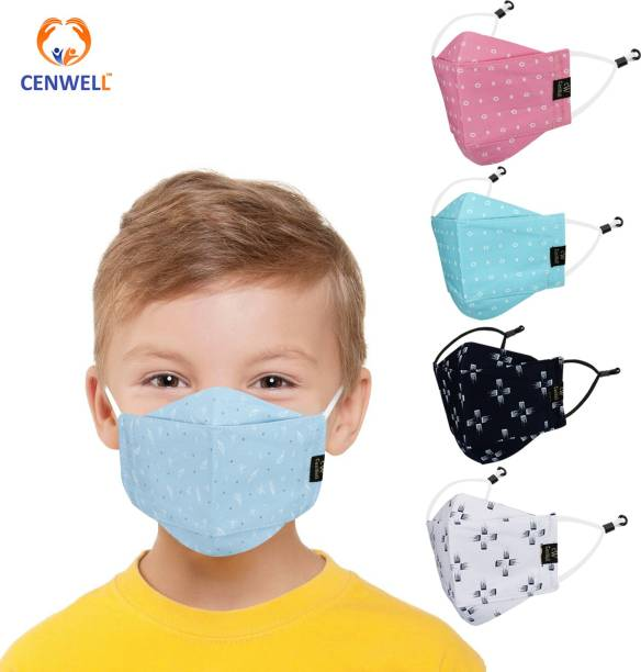 CENWELL 100 % Cotton Kids 3D Face Mask Reusable Washable Breathable Skin Friendly N95 Soft Cotton Fabric Face Mask with Adjustable Ear loops for Boys Girls Children Babies (Anti Pollution Mask , Anti Viral Mask , Anti Bacterial Mask ) (School Mask , Outdoor Mask , Kids Party Mask) (Child Mask , Kids Mask 3 years, Kids Mask 4 years , kids Mask 5 years , kids mask 6 years , kids mask 7 years , kids mask 8 years , kids mask 9 years , kids mask 10 years up to 14 yrs ) ( Mask for kids , boys , children , girls ) KD-8 Cloth Mask With Melt Blown Fabric Layer