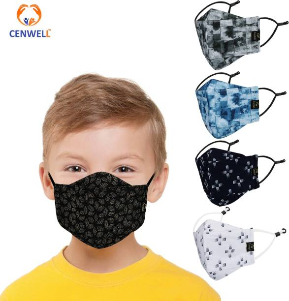 CENWELL 100 % Cotton 3D Face Reusable Washable Breathable Skin Friendly, Soft Cotton Fabric with Adjustable Ear loops Children Babies (Pollution, Viral, Bacterial) KD-9 Cloth Mask With Melt Blown Fabric Layer