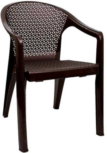 ITALICA ( SHREE GANESH ONLINE ) original seller 5202 oxy series chairs - modern stackable plastic standard armchair (matte finish, brown, set of 1) Plastic Outdoor Chair
