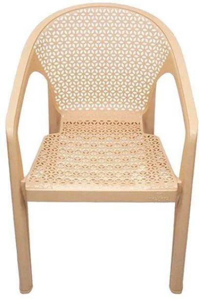 ITALICA ( SHREE GANESH ONLINE ) original seller 5202 Oxy Series Modern Stackable Plastic Armchairs (Set of 1, Marble Beige) Plastic Outdoor Chair