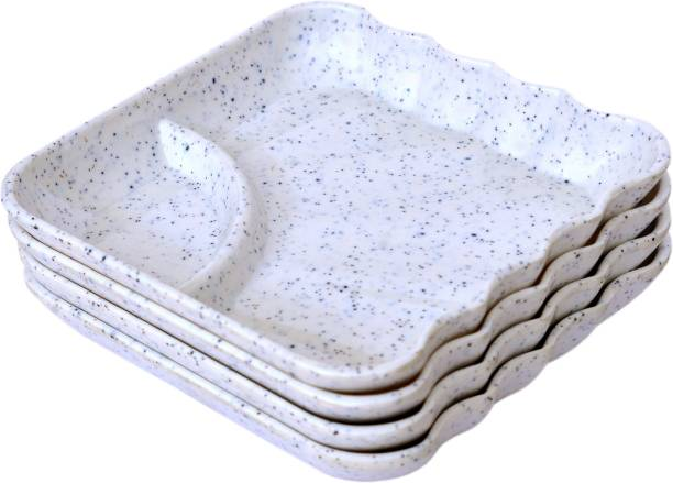 GOOFFI WHITE DIP CHIP COMBO 4 Chip & Dip Tray