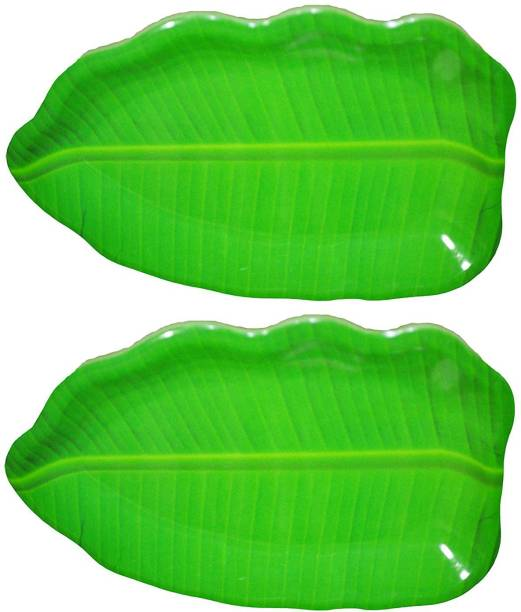 Laserbot Extra Large Banana Leaf South Indian Round Dinner Lunch Serving Melamine Platter Plate Tray