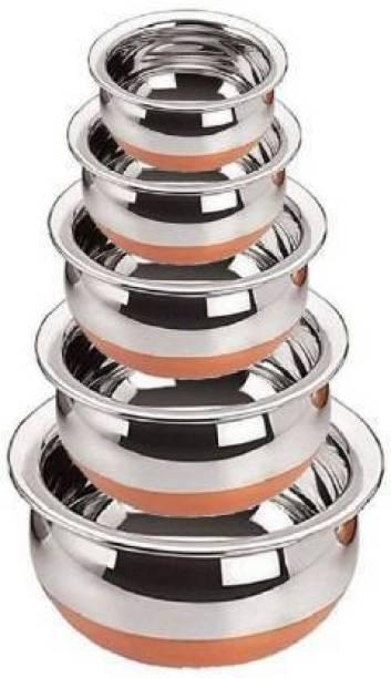 INFOREK TRADE Handi 5 Piece Stainless Steel Copper Bottom Handi Set Combo Serving Handi Cookware Kitchen Serving, Cooking Bowl, Biryani Handi Handi 2 L, 1 L, 0.5 L, 0.25 L, 0.1 L
