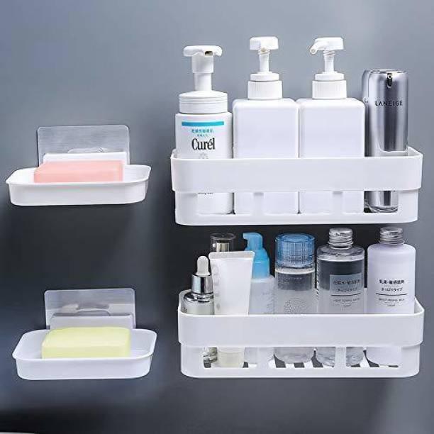 MorivaHomes Multipurpose Self-Adhesive Plastic Kitchen Bathroom Shelf Wall Holder Storage Rack. ( 2 Bathroom Shelf + 2 Soap Dish ) Plastic Wall Shelf