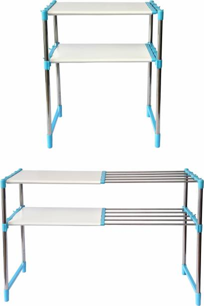 LivingBasics Rust-Free Stainless Steel Adjustable Multipurpose Stand for Kitchen Storage/Microwave & OTG Rack/Shoe Rack/Bathroom Stand/Office Organizer/Bookshelf Steel Wall Shelf