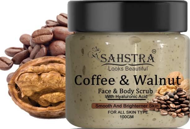SAHSTRA Coffee Walnut Scrub - Deep Cleansing, Glowing skin, Cellulite, Ageing Skin, Tan removal Scrub,blackhead and blemishes, Fruit Extracts Caffeinated Face Scrub (100 GM) Scrub