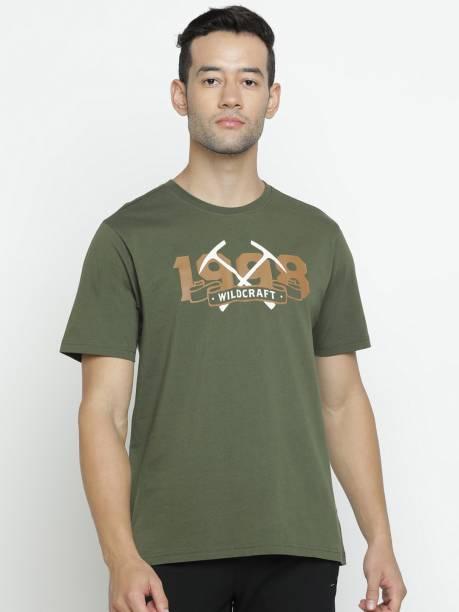 Wildcraft Graphic Print Men Round Neck Dark Green T-Shirt