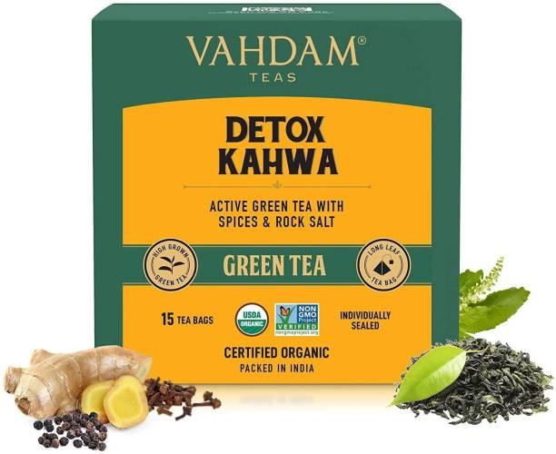 Vahdam Organic Detox Ayurvedic Kahwa Ginger, Tulsi Green Tea Bags Box