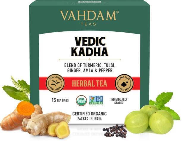 Vahdam Vedic Kadha Tulsi, Ginger, Amla Herbal Tea Bags Box