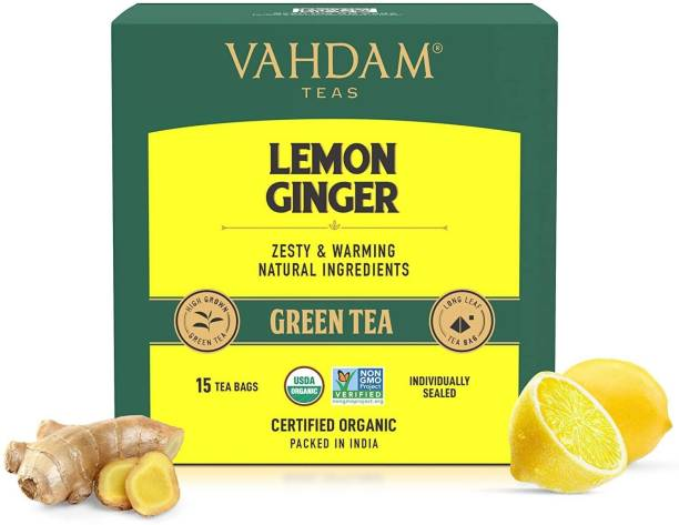 Vahdam Organic Lemon Ginger Detox Lemon, Ginger Green Tea Bags Box