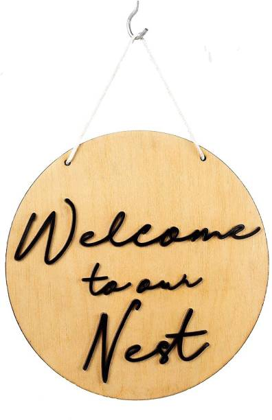 Shilpacharya Handicrafts Welcome to Our Nest Sign for Wall Front Door Décor Indoor Outdoor Made Plywood Material Home Decor Item (26 x 26 cm) Sign