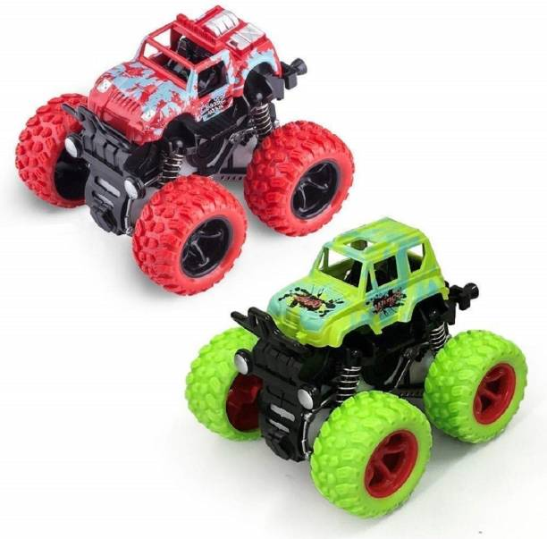 Toyporium Push and Go Car Toy, Monster Truck Toys,360 Degree Stunt Car (Pack of 2) (Multicolor)