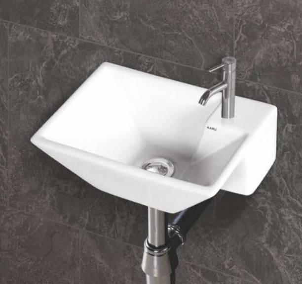 SENISTO best mini wall hung sogo / size 38 x 28 x 13 cm / wall hung basin / wall monted basin / glossy finishing / super white colour Wall Hung Basin
