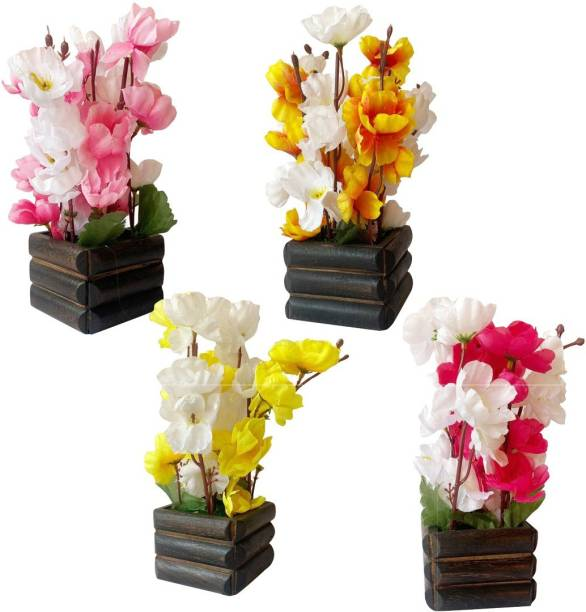 Ryme Multicolor Orchids Artificial Flower  with Pot