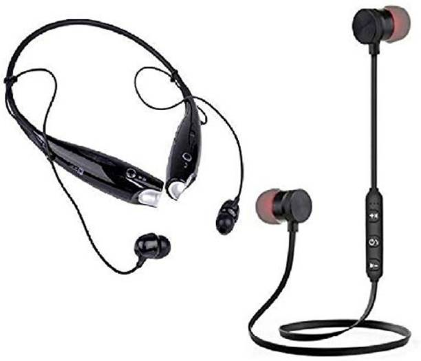TECHFIRE combo of hbs730+magnet stereo High bass Sound Bluetooth headphone Neckband MP3 Player
