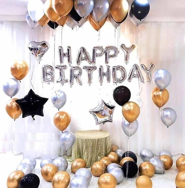 HBD Solid Solid Happy Birthday Silver Foil Set of 13 Letters with 30 HD Metallic 10 Gold , 10 Black & 10 Silver Balloons with 1 Black & 1 Silver Stars Foil Balloons + 1 Silver Heart Foil Balloons Balloon (Silver, Gold, Black, Pack of 46) Balloon