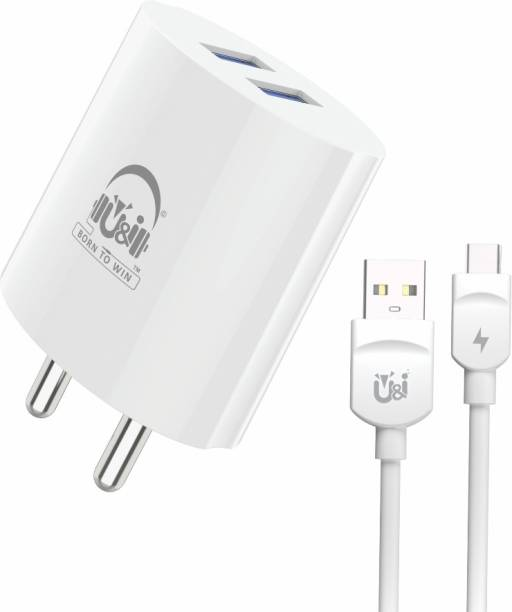 U&I Quick Series Charger Dual USB Port with Type C Data Cable Over Short-Circuit Protection 2.4A Output UiCH 3301 2.4 A Multiport Mobile Charger with Detachable Cable