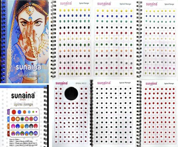 SUNAINA Spiral Mini size Multicolour/Black/Red/Maroon Colour KUMKUM Bindi Book For Women With 1 SPECIAL 4 MM Mini Black Size bindi page (fancy, round, plain, Matching Makeup) FOREHEAD Multicolor Bindis