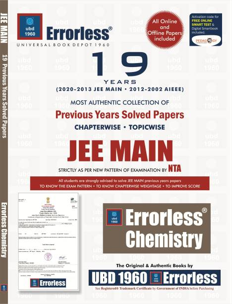 UBD1960 Errorless Chapterwise-Topicwise 19 Years Solved Papers JEE MAIN CHEMISTRY as per NTA Paperback+ Digital