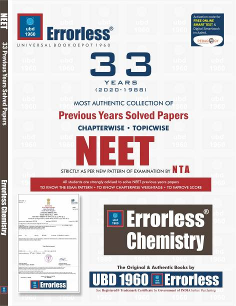 UBD1960 Errorless Chapterwise-Topicwise 33 Years Solved Papers NEET CHEMISTRY as per NTA Paperback+ Digital