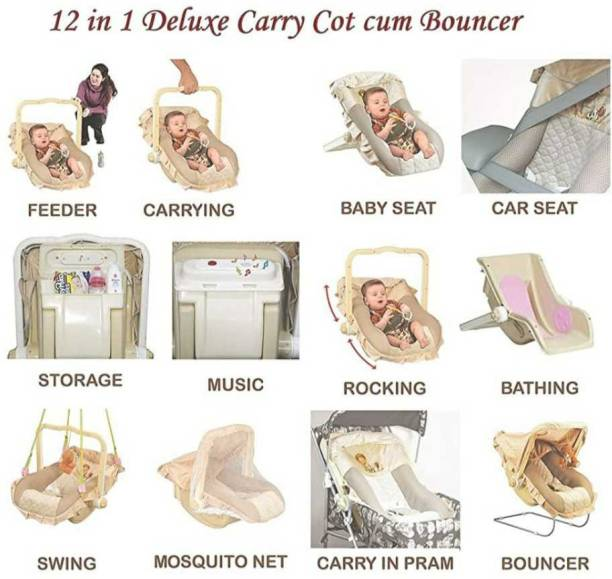 Gudda Gudia 13 in 1 Musical Carry Cot/Bouncer with Mosquito Net and Storage Box and swing -MADE IN INDIA Bouncer