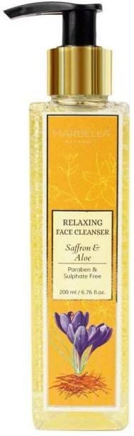 MARBELLA NATURALS Saffron & Aloe Relaxing Face Cleanser | Pure Natural | Paraben and Sulphate Free | Provides Hydration and Moisture to the Skin | Helps Soothe Sunburn |