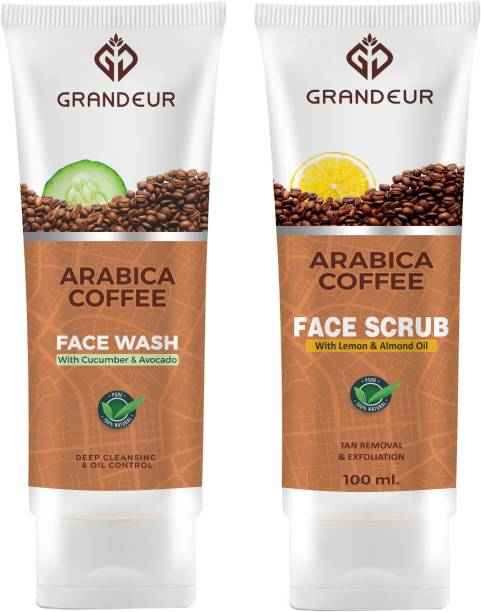 Grandeur Deep Cleansing Coffee Face Wash And Face Scrub Combo Pack With Goodness of Coffee, Cucumber, Lemon, Avocado For For Deep Cleansing & Exfoliation