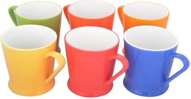 Pearl Pack of 6 Bone China Tulip Multicolor Fine Tableware Bone China Tea Cups Set of 6