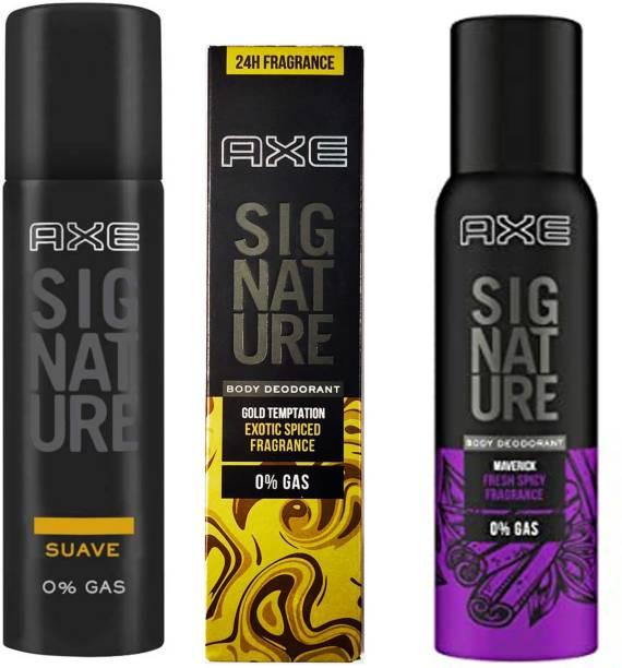 AXE Signature Suave + Gold temptation+ Maverick 3X122ml Body Spray  -  For Men & Women
