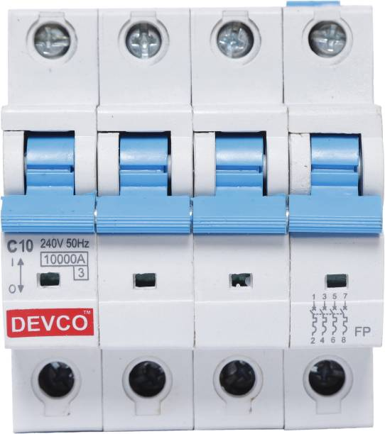 DEVCO 4-Pole 10-Amp (C-Curve 10kA) MCB40100C MCB