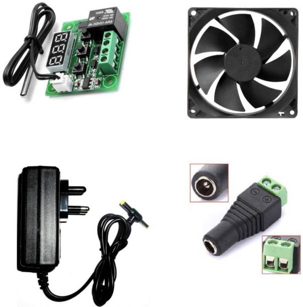 TechSupreme Combo Of W1209 + 12v 2Amp Adapter + 3inch fan+ 1 Dc Connectors Screw TypeFor Diy Incubator Electronic Components Electronic Hobby Kit