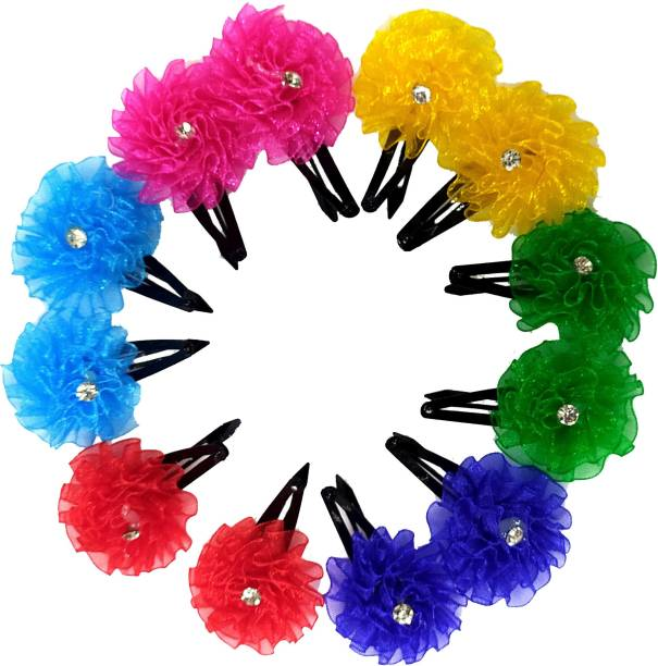 S Mark Smark Flower Design Multicolour Stone Tic Tac Hair Clip for Womens and girls (Pcs 12) Tic Tac Clip