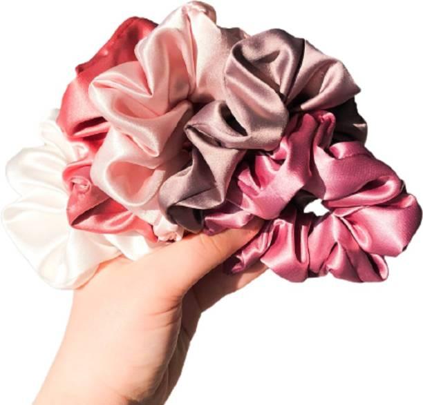 hummanbird Pink Silk Hair Scrunchies Large Hair Tie Elastic Hair Bands Set of 5 pcs Rubber Band