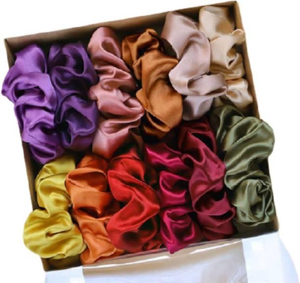 hummanbird Multicolor Pure Silk Scrunchies Hair Tie Elastic Large Hair Bands Set of 12 pcs Rubber Band